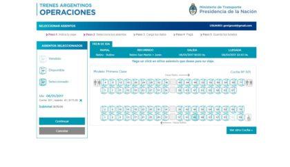 compra de pasajes de tren larga distancia argentina